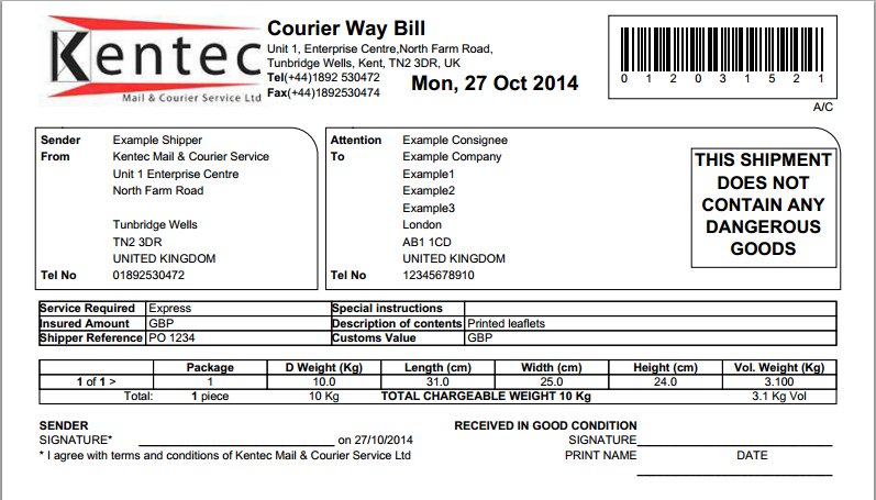 Courier way bill